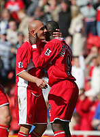 Photo: Andrew Unwin.<br />Middlesbrough v West Ham United. The Barclays Premiership. 17/04/2006.<br />Middlesbrough's Massimo Maccarone (L) celebrates scoring his team's second goal with Jimmy Floyd Hasselbaink (R).