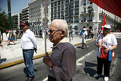June 15, 2017 - Athens, Attica, Greece - Greek pensioners from around the country protest against new pension cuts, as part of a deal with the country's international creditors, in central Athens on June 15, 2017. According to data from the Unified Pensioners Network, 8 out of 10 pensioners have been in a state of poverty, while the upcoming measures will trigger a reduction in pensioners' income to 70% (Credit Image: © Panayotis Tzamaros/NurPhoto via ZUMA Press)