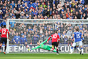 David De Gea of Manchester United saves a penalty from Everton forward Romelu Lukaku during the The FA Cup semi final match between Everton and Manchester United at Wembley Stadium, London, England on 23 April 2016. Photo by Phil Duncan.