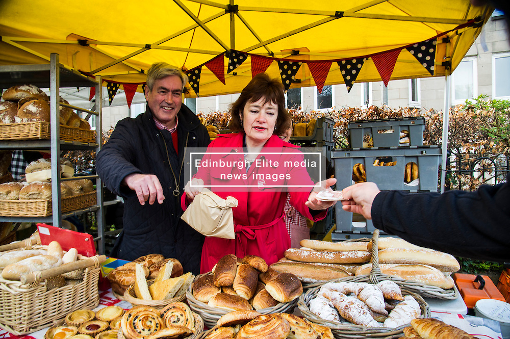 Pictured: Iain Gray and Sarah Boyack helped out at the Allgourmane Bread stall.<br /> <br /> The former Scottish Labour leader Iain Gray joined colleague Sarah Boyack activists and supporters at a street stall at Stockbridge Market. <br /> Ger Harley   EEm 10 April 2016