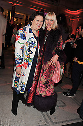 Left to right, SUZY MENKES and VIRGINIA BATES at a private view of Ballgowns: British Glamour Since 1950 at the V&A museum, London on 15th May 2012.
