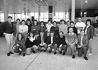 Members of the Ladies GAA Delegation from all parts of Ireland pictured at Dublin Airport before their departure to Manchester, 20/04/1990 (Part of the Independent Newspapers Ireland/NLI Collection).