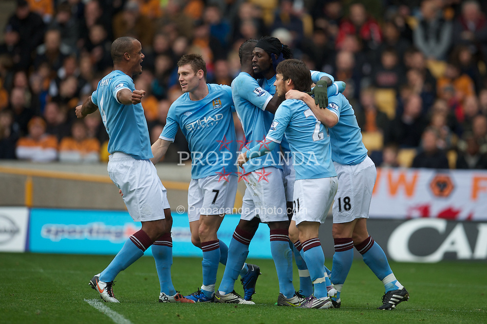WOLVERHAMPTON, ENGLAND - Saturday, October 30, 2010: Manchester City's Emmanuel Adebayor celebrates scoring the opening goal against Wolverhampton Wanderers from the penalty spot during the Premiership match at Molineux. (Pic by: David Rawcliffe/Propaganda)