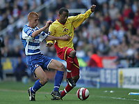 Photo: Lee Earle.<br /> Reading v Watford. The Barclays Premiership. 05/05/2007.Reading's Steve Sidwell (L) battles with Watford's Lee Williamson.