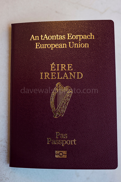 Irish passport, European Union. Passport issued by the Republic of Ireland. Irish passports are increasing demand from eligible applicants in the UK, since the country voted to leave the European Union - Brexit.