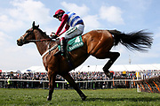 Third placed Keeper Hill ridden by Richard Johnson clears the last in the 1:45pm The Gaskells Handicap Hurdle (Grade 3) during the Grand National Meeting at Aintree, Liverpool, United Kingdom on 6 April 2019.