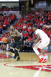 14 January 2017:  Zach Brown brings the ball to the top of the key finding defender DJ Clayton(2) during an NCAA  MVC (Missouri Valley conference) mens basketball game between the Wichita State Shockers the Illinois State Redbirds in  Redbird Arena, Normal IL