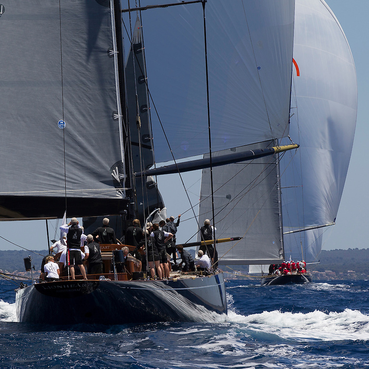 SPAIN, Palma. 19th June 2013. Superyacht Cup. J Class. Race One. Lionheart follows Rainbow down the run.