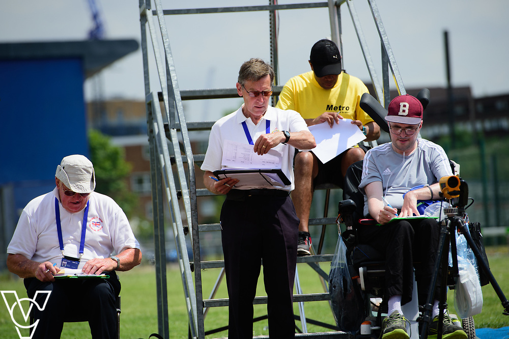 Metro Blind Sport's 2017 Athletics Open held at Mile End Stadium.  Track officials and volunteers<br /> <br /> Picture: Chris Vaughan Photography for Metro Blind Sport<br /> Date: June 17, 2017