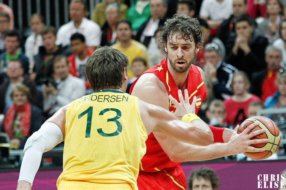 31 July 2012: Australia David Andersen defends on Spain Pau Gasol during the first half of Spain vs Australia, during the men's basketball preliminary, at the Basketball Arena, in London, Great Britain.