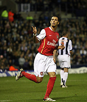 Photo: Rich Eaton.<br /> <br /> West Bromwich Albion v Arsenal. Carling Cup. 24/10/2006. Jeremie Aliadiere scores from the penalty spot and celebrates