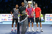 Raven Klassen (South Africa) and Rajeev Ram (USA) and Henri Kontinen (Finland) and John Peers (Australia) line up before the doubles final of the Barclays ATP World Tour Finals at the O2 Arena, London, United Kingdom on 20 November 2016. Photo by Phil Duncan.