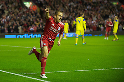 LIVERPOOL, ENGLAND - Thursday, September 16, 2010: Liverpool's Joe Cole celebrates scoring his first goal for the club, the opening goal against FC Steaua Bucuresti during the opening UEFA Europa League Group K match at Anfield. (Photo by David Rawcliffe/Propaganda)