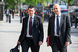 © London News Pictures. 07/06/2016. London, UK. Luke Primarolo, Regional Officer, Unite Union (left) and Steve Turner, Assistant General Secretary (right) at Portcullis House in London to give evidence to a Business, Innovation and Skills Committee about treatment of low-paid staff.. Photo credit: Ben Cawthra/LNP