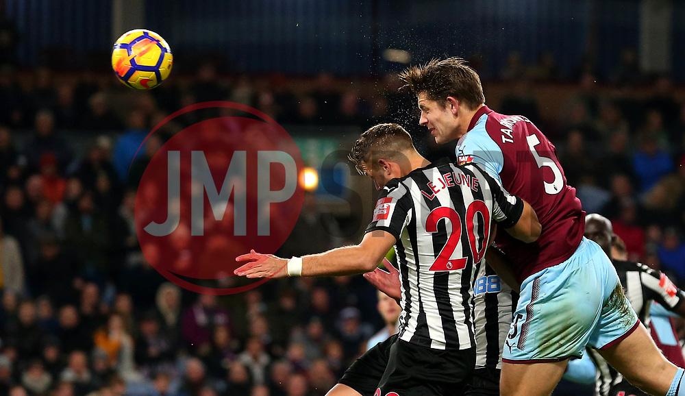 James Tarkowski of Burnley heads the ball towards goal - Mandatory by-line: Robbie Stephenson/JMP - 30/10/2017 - FOOTBALL - Turf Moor - Burnley, England - Burnley v Newcastle United - Premier League