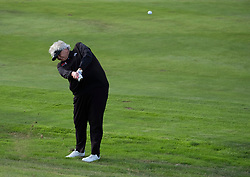 Gleneagles, Scotland, UK; 8 August, 2018.  Day one of golf competition at Gleneagles.. Men's and Women's Team Championships Round Robin Group Stage - 1st Round. Four Ball Match Play format. Gleneagles for the European Championships 2018. Laura Davies of GB hits approach to the 3rd hole
