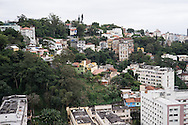 A view of Rio de Janeiro from the Santo Amaro favela, Rio de Janeiro, Brazil. According to Patrick Ashcroft an English (Stockport) researcher and teacher who lives in the favela, it is fairly quiet and non violent. There is a heavily armed police presence in the favela.<br /> Picture by Andrew Tobin/Focus Images Ltd +44 7710 761829<br /> 20/06/2014