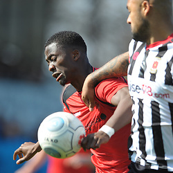 TELFORD COPYRIGHT MIKE SHERIDAN 6/4/2019 - Dan Udoh of AFC Telford battles for the ball during the Vanarama Conference North fixture between Chorley FC and AFC Telford United at Victory Park