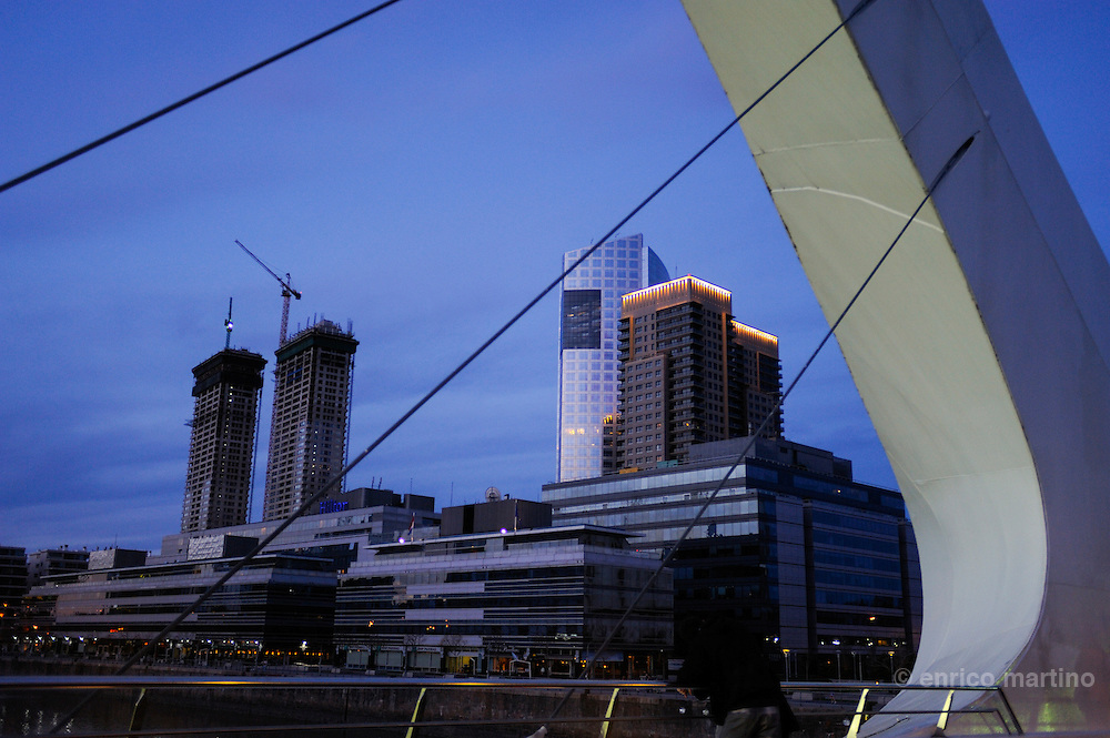 "Puerto Madero upper class neighborhood, the old harbour with ""A la Mujer"" bridge of  SantiagoCalatrava Spanish architect."