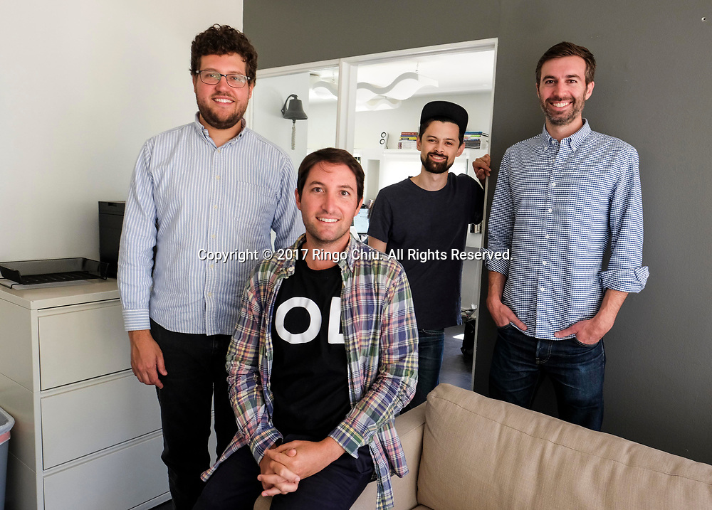 Left to right, co-founders Alex Farrill, Judd Schoenholtz  Peter Sugihara and Stuart Law of Open Listings, a real estate tech company in Los Angeles.(Photo by Ringo Chiu)<br /> <br /> Usage Notes: This content is intended for editorial use only. For other uses, additional clearances may be required.