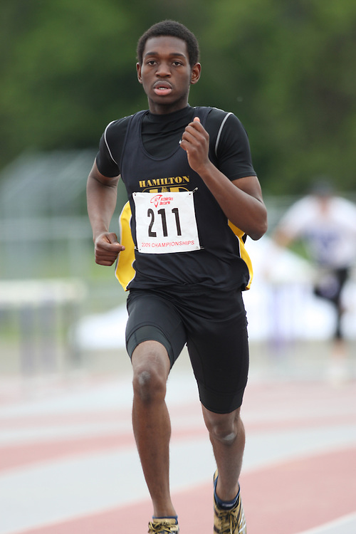 (London, Ontario---13/06/09)   Blaise Kambu of Hamilton Olympic Club competes in the  400m at the 2009 Athletics Ontario Junior Track and Field Championships. The meet was held in London, Ontario from June 13-14, 2009. Copyright photograph Sean Burges / Mundo Sport Images, 2009. www.mundosportimages.com / www.msievents.