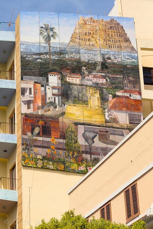 Wandmalereien an Häusern, Los Llanos, La Palma, Kanarische Inseln, Spanien