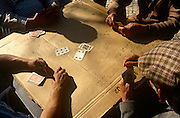 Elderly Portuguese men play afternoon cards, their table is a makeshift packing box cardboard located in Praca do Principe Rea.