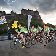 FREE PICTURES :  Lloyds Banking Group colleagues, supported by round the world cyclist Mark Beaumont start their 300 mile 3.5 day Tour de Pudsey cycling challenge for the Group's Charity of the Year, BBC Children in Need from Edinburgh.<br /> <br /> <br /> Picture Robert Perry 13th Sept 2016<br /> <br /> Please credit photo to Robert Perry<br /> <br /> Image is free to use in connection with the promotion of the above company or organisation. 'Permissions for ALL other uses need to be sought and payment make be required.<br /> <br /> <br /> Note to Editors:  This image is free to be used editorially in the promotion of the above company or organisation.  Without prejudice ALL other licences without prior consent will be deemed a breach of copyright under the 1988. Copyright Design and Patents Act  and will be subject to payment or legal action, where appropriate.<br /> www.robertperry.co.uk<br /> NB -This image is not to be distributed without the prior consent of the copyright holder.<br /> in using this image you agree to abide by terms and conditions as stated in this caption.<br /> All monies payable to Robert Perry<br /> <br /> (PLEASE DO NOT REMOVE THIS CAPTION)<br /> This image is intended for Editorial use (e.g. news). Any commercial or promotional use requires additional clearance. <br /> Copyright 2016 All rights protected.<br /> first use only<br /> contact details<br /> Robert Perry     <br /> 07702 631 477<br /> robertperryphotos@gmail.com<br />        <br /> Robert Perry reserves the right to pursue unauthorised use of this image . If you violate my intellectual property you may be liable for  damages, loss of income, and profits you derive from the use of this image.