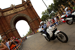 Police at the Mens Marathon at Arc de Triomf during day six of the 20th European Athletics Championships at the roads of city Barcelona on August 1, 2010 in Barcelona, Spain. (Photo by Vid Ponikvar / Sportida)