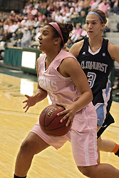 08 February 2014: Gabrielle Holness inside of Devin Vaughn during an NCAA women's division 3 CCIW basketball game between the Elmhurst Bluejays and the Illinois Wesleyan Titans in Shirk Center, Bloomington IL