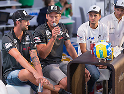 28.07.2015, Klagenfurt, Strandbad, AUT, A1 Beachvolleyball EM 2015, Pressekonferenz, im Bild Clemens Doppler AUT, Alexander Horst AUT, Alexander Huber AUT und Robin Seidl AUT // during Press Conference of the A1 Beachvolleyball European Championship at the Strandbad Klagenfurt, Austria on 2015/07/28. EXPA Pictures © 2015, EXPA Pictures © 2015, PhotoCredit: EXPA/ Mag. Gert Steinthaler