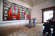 "UNITED KINGDOM, London: 07 June 2016 Gilbert & George (left and right respectively) pose for pictures in front of their major new picture ""Beard Aware"" (2016) which will be on display at the Royal Academy of Arts as part of the Royal Academy's 248th Summer Exhibition. Rick Findler / Story Picture Agency"