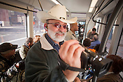 27 DECEMBER 2008 -- PHOENIX, AZ: At 9:50AM George Varrato (CQ) of Phoenix, video taped his first ride on the light rail. Metro Light Rail started running Saturday, Dec. 28. The light rail line is 20 miles long and cost $1.4 billion dollars. PHOTO BY JACK KURTZ