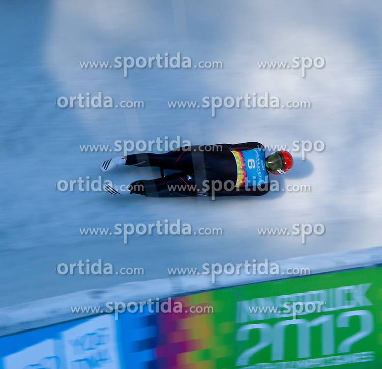 "15.01.2012, Bobbahn Igls, Innsbruck, AUT, Olympische Jugend Winterspiele, Rodeln, Herren, im Bild Toni Graefe (GER) // Toni Graefe (GER) during the Mens Luge of the Winter Youth Olympic Games at the ""Bob Track Igls"", Innsbruck, Austria on 2012/01/15, EXPA Pictures © 2012, PhotoCredit: EXPA/ Juergen Feichter"