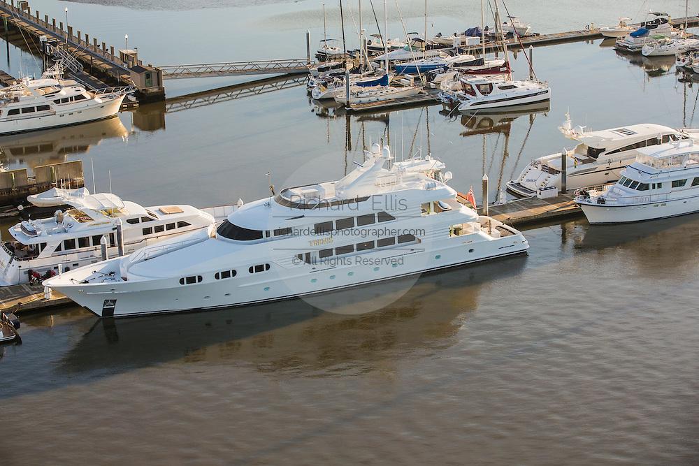 Aerial view of a luxury yacht Charleston, South Carolina.
