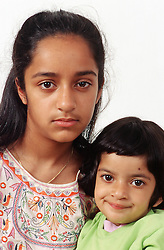 Portrait of two young girls,