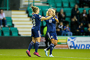 Kim Little (#8) of Scotland celebrates Scotland's second goal (2-0) with Claire Emslie (#18) of Scotland during the Women's Euro Qualifiers match between Scotland Women and Cyprus Women at Easter Road, Edinburgh, Scotland on 30 August 2019.
