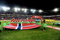 Fotball , 26. mars 2019 , EM-kvalifisering , Euro Qual.<br /> Norge - Sverige<br /> Norway - Sweden<br /> illustrasjon lineup , flagg , Ullevaal Stadion