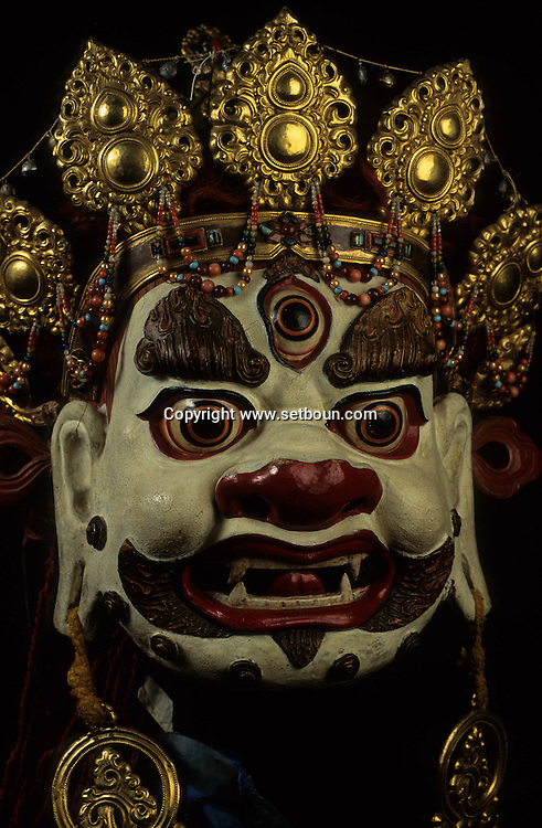 Mongolia. mask without name Budhist tsam dance mask, 19th century (Paper maché), monastery-museum of Tchoijin Lamyn, Ulan Bator).