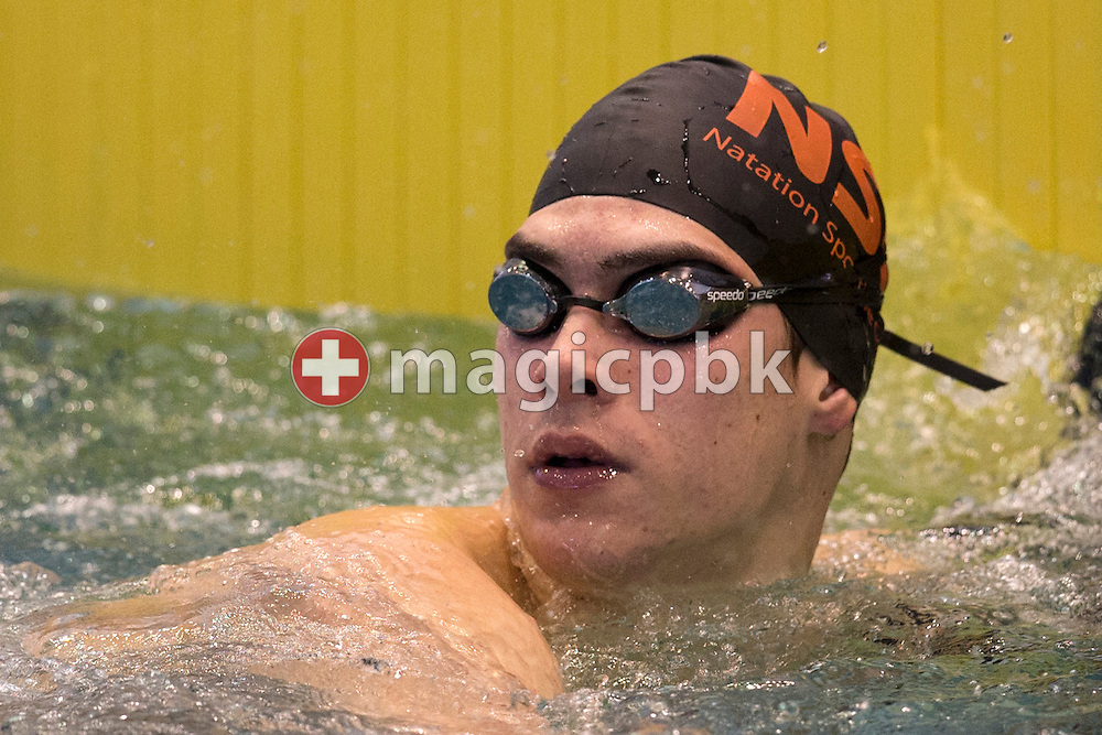 NSG's Alexandre HALDEMANN of Switzerland reacts after winning the men's 200m Freestyle Final during the Swiss Swimming Championships at the Hallenbad Oerlikon in Zuerich, Switzerland, Friday, March 28, 2014. (Photo by Patrick B. Kraemer / MAGICPBK)