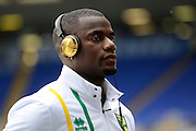 Norwich City defender Sebastien Bassong (6) wearing beats headphones during the EFL Sky Bet Championship match between Birmingham City and Norwich City at St Andrews, Birmingham, England on 27 August 2016. Photo by Alan Franklin.