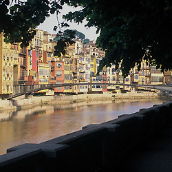 A view across the river from the old part of town. Girona, Spain.