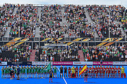 Ireland and Spain stand for national anthems during the Vitality Hockey Women's World Cup 2018 Semi-Final match between Ireland and Spain at the Lee Valley Hockey and Tennis Centre, QE Olympic Park, United Kingdom on 4 August 2018. Picture by Martin Cole.