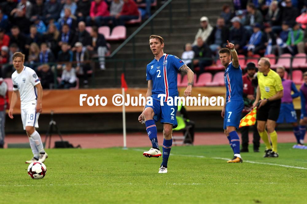 2.9.2017, Ratina Stadion, Tampere, Finland.<br /> FIFA World Cup 2018 Qualifying match, Finland v Iceland.<br /> Birkir S&aelig;varsson - Iceland
