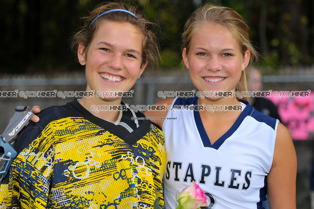 Staples High School Field Hockey..Norwalk defeats Staples 2-1 overtime win..Senior day for Staples -- final home game of regular season..Noortje Lueb.Chris Lueb (GK)(SR).