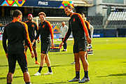 Netherlands Defender Virgil van Dijk (Liverpool) in good spirits during the Netherlands training session ahead of the Nations League Semi-Final against England at Estadio D. Afonso Henriques, Guimaraes, Portugal on 5 June 2019.