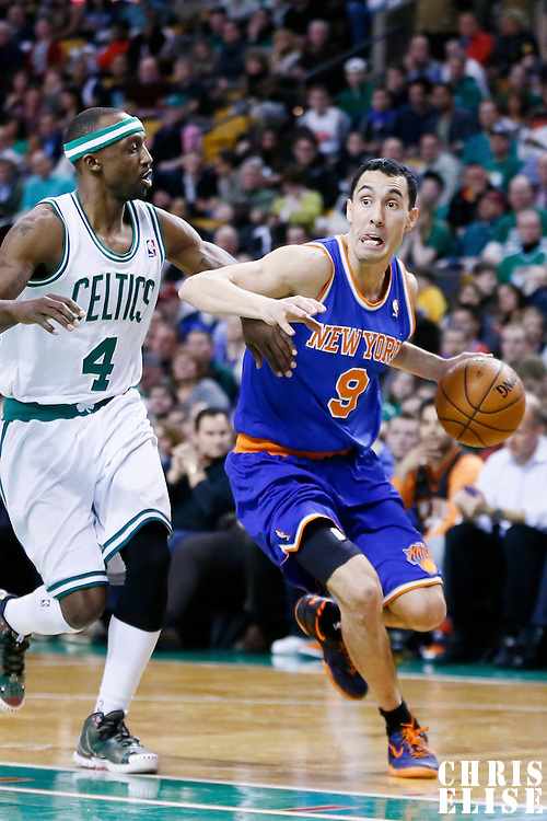 26 March 2013: New York Knicks point guard Pablo Prigioni (9) drives past Boston Celtics shooting guard Jason Terry (4) during the New York Knicks 100-85 victory over the Boston Celtics at the TD Garden, Boston, Massachusetts, USA.