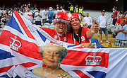 Female England fans with Queen flag during the Euro 2016 Group B match between England and Wales at Stade de Bollaert-Delelis, Lens Agglo, France on 16 June 2016. Photo by Phil Duncan.