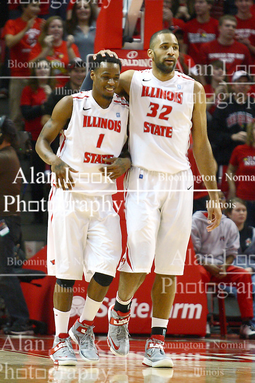 08 December 2012:  Jackie Carmichael rub the head of Tyler Brown in a moment of joy during an NCAA mens basketball game between the Western Michigan Broncos and the Illinois State Redbirds (Missouri Valley Conference) in Redbird Arena, Normal IL