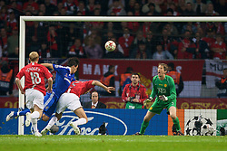 MOSCOW, RUSSIA - Wednesday, May 21, 2008: Manchester United's goalkeeper Edwin van der Sar saves from Chelsea's Michael Ballack during the UEFA Champions League Final at the Luzhniki Stadium. (Photo by David Rawcliffe/Propaganda)
